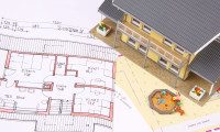 Building project with architect´s plan